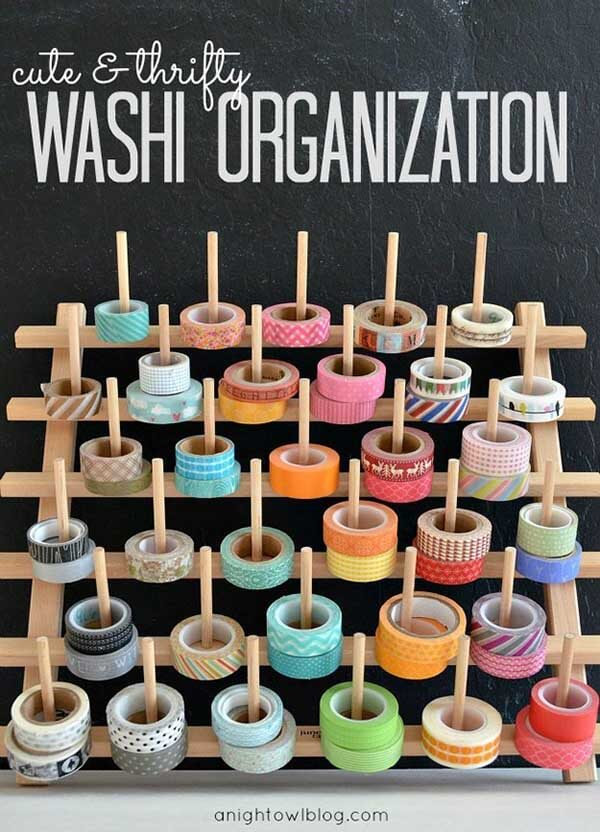 Craft Room Organization Ideas: washi tape storage solution