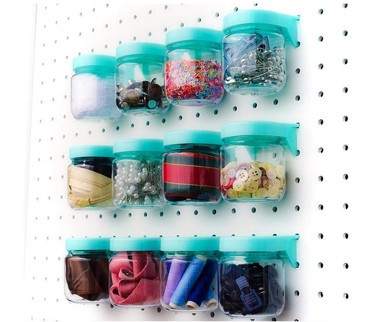 Craft Room Organization Ideas: Pegboard solution like these small pegboard bottles
