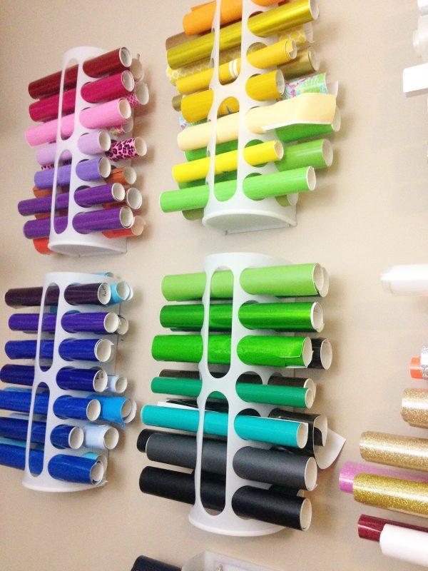 Craft Room Organization Ideas: Disposable Bag Dispensers as Cricut vinyl storage