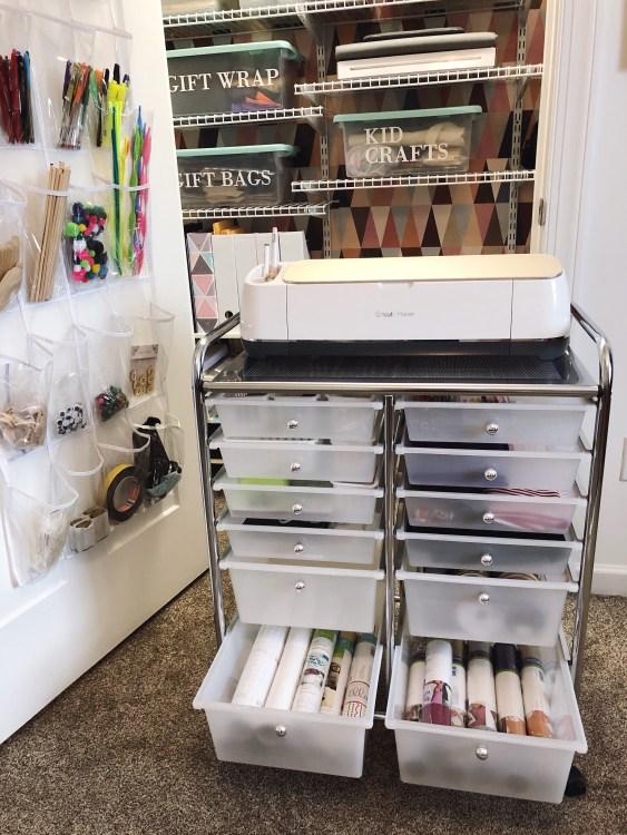 Craft Room Organization Ideas: Cricut Rolling Cart organization solution for a craft closet
