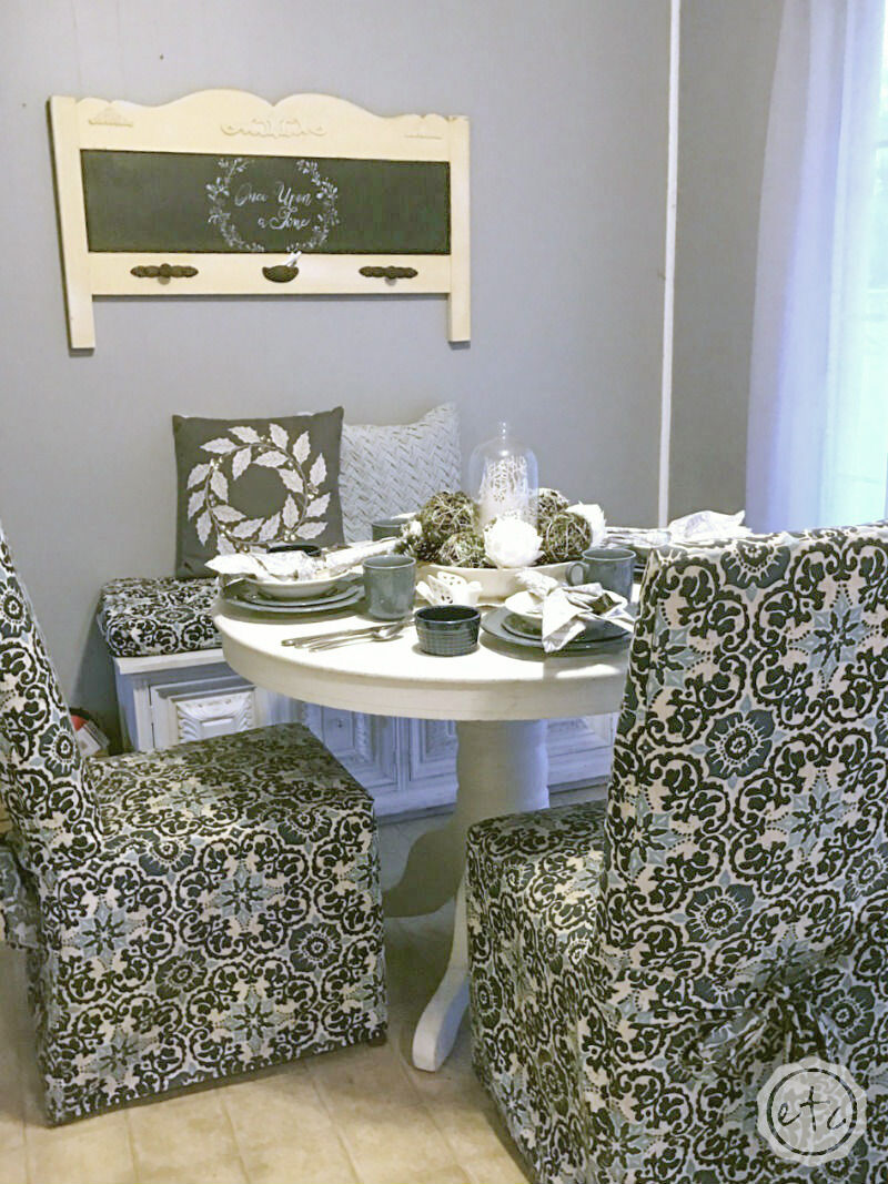 Kitchen table, chairs, and bench. Painted with annie sloan white chalk paint