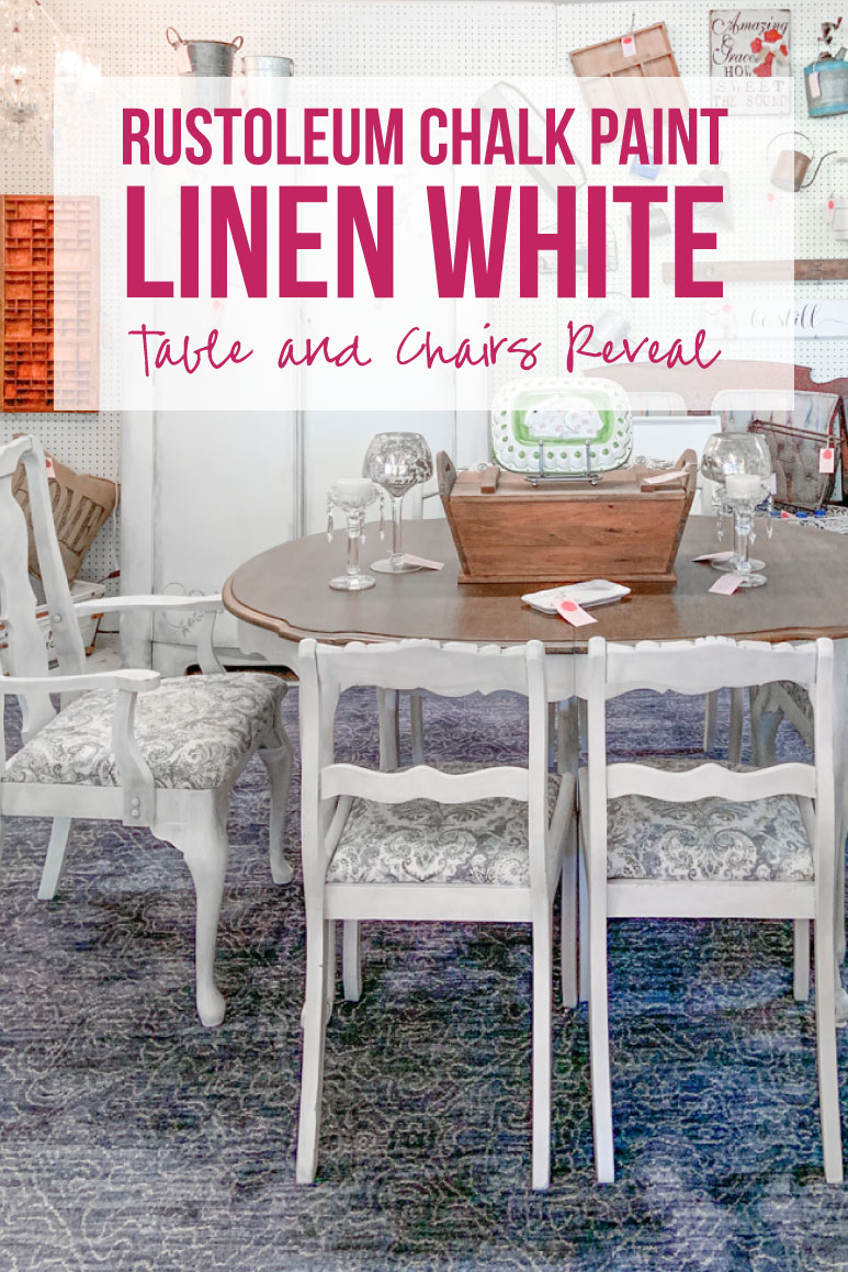 rustoleum chalk paint linen white table and chairs reveal