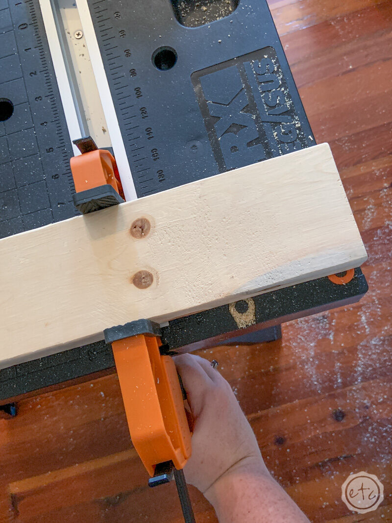 Clamping your 2x4 to your work table or in my case my little portable worx table!