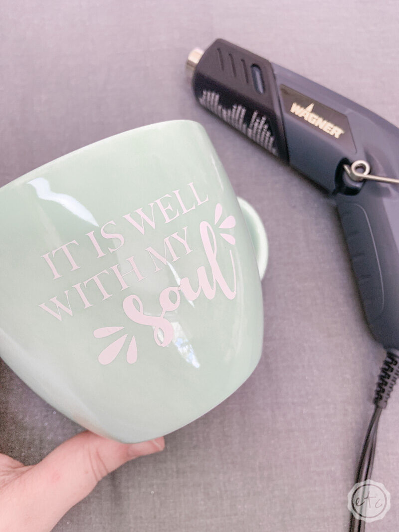 """It is well with my soul"" A vinyl iron on decal that is bonded to a stoneware mug with my small portable heat gun."