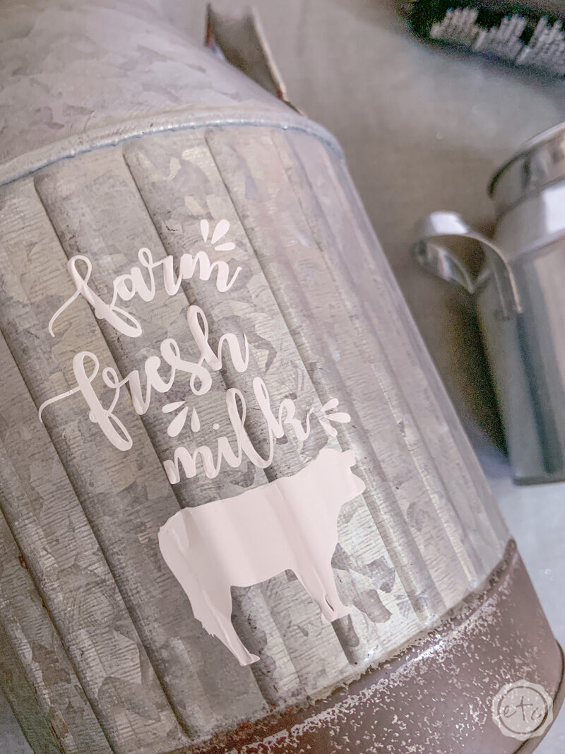 """Farm Fresh Milk"" A tiny aluminum milk can with a farmhouse inspired htv decal."