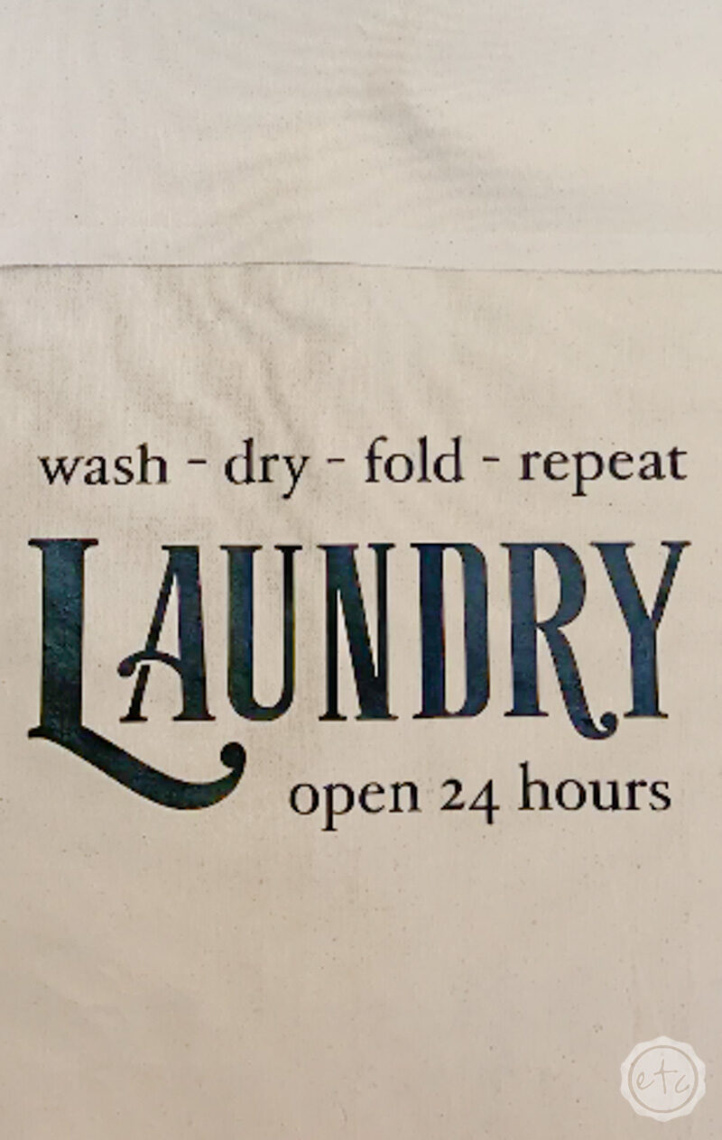 A close up of the graphic for this laundry bin.