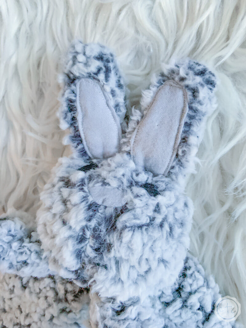 A close up of the finished bunny lovey with our personalized iron on name decal.