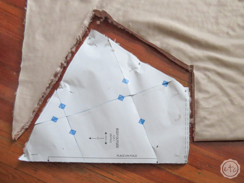 Showing how a large pattern piece on the fold looks cut out.