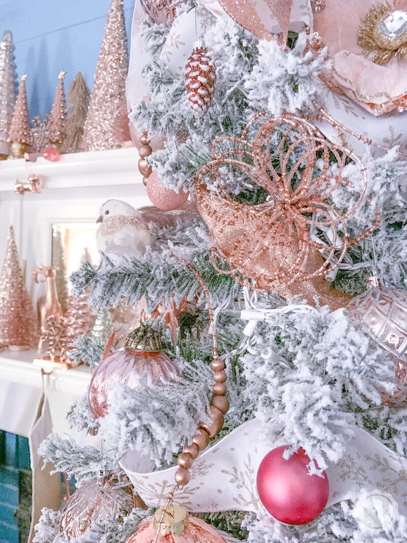 Blush And Rose Gold Flocked Christmas Tree Happily Ever After Etc