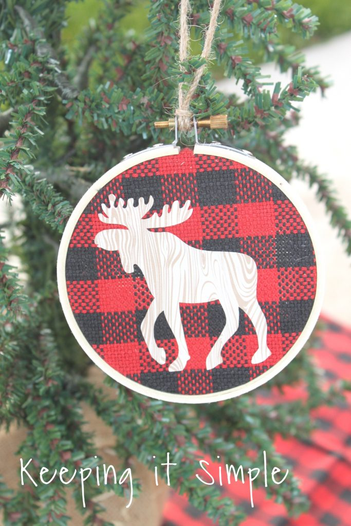 Buffalo Plaid Embroidery Hoop Ornaments