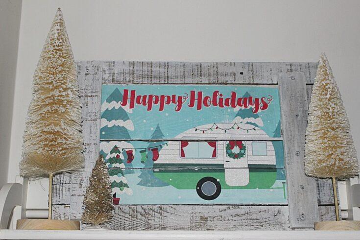 Christmas Camper Pallet Wood Sign