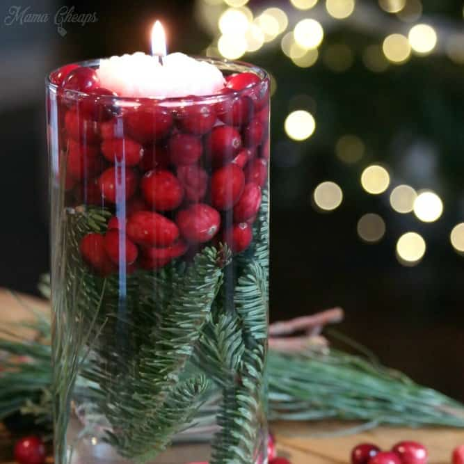 Simple Cranberry Evergreen Jars Holiday DIY Decor