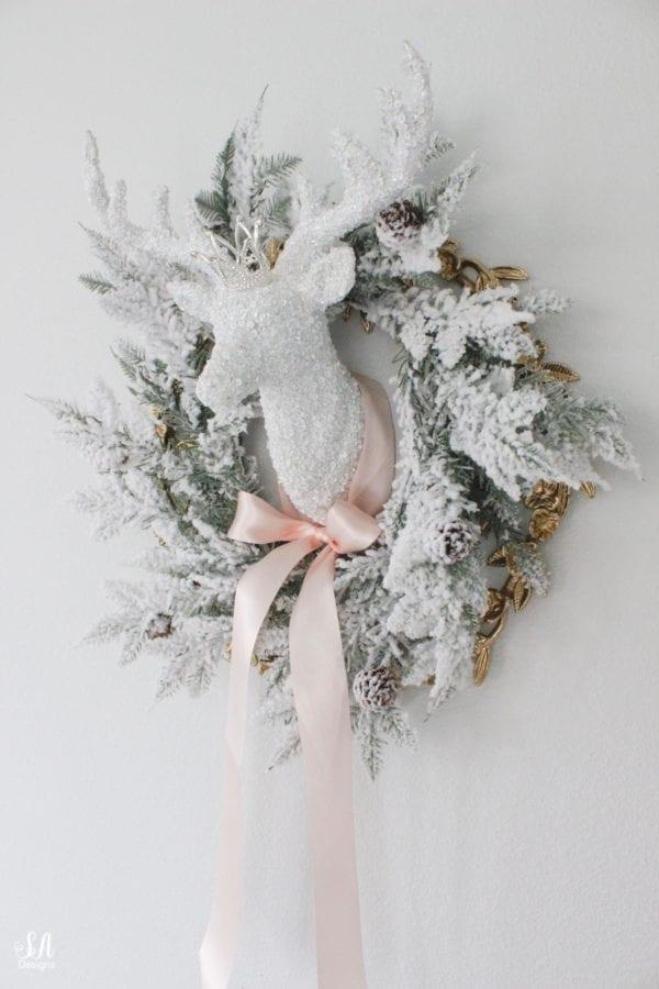Whimsical Glam Christmas Deer Head