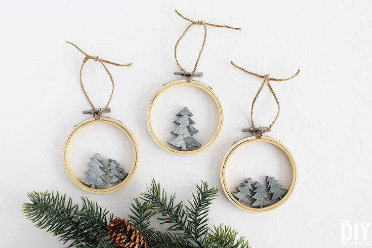 Embroidery Hoop Faux Concrete Christmas Tree Ornaments