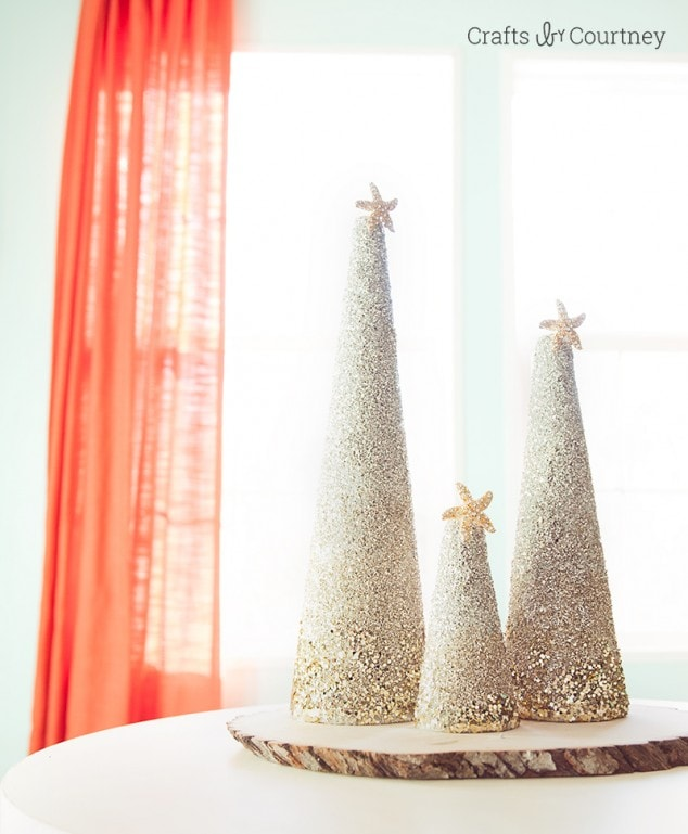 DIY Coastal Glitter Christmas Trees