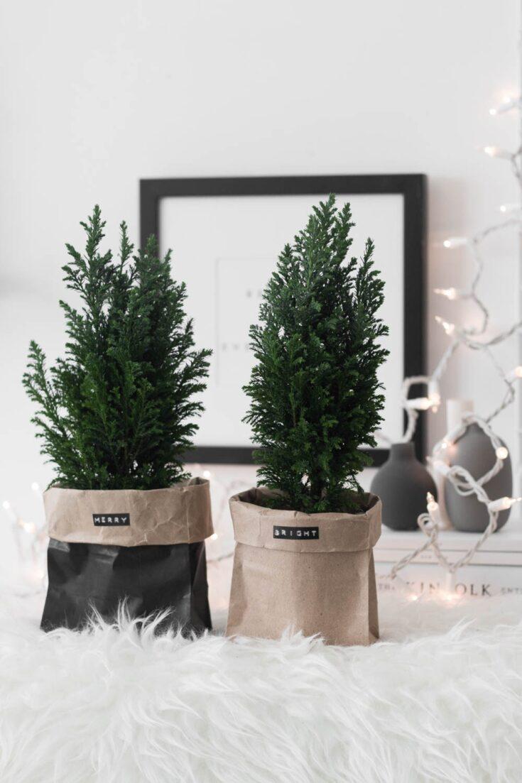 DIY Paper Bag Christmas Trees
