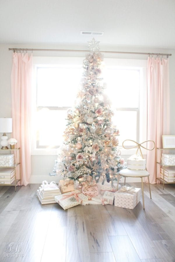 Blush Pink Flocked Christmas Tree