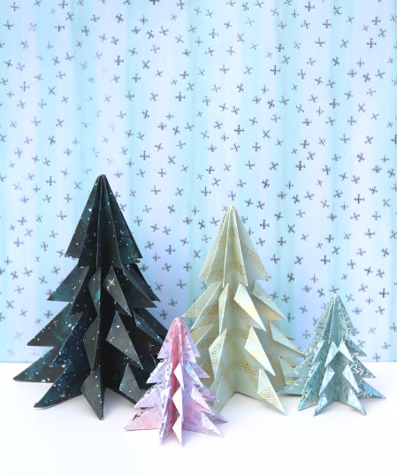 Easy origami Christmas Trees