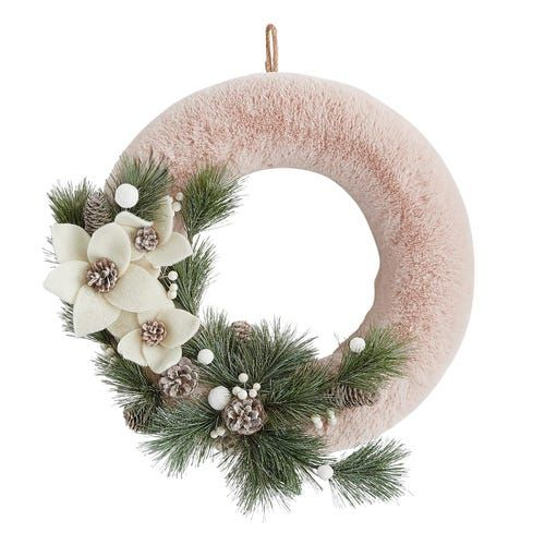 Blush Faux Fur & Floral Wreath