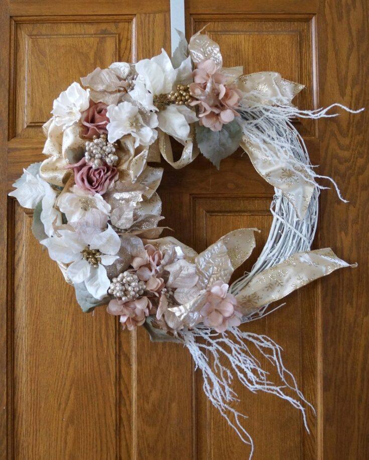 Large White Poinsettia Wreath