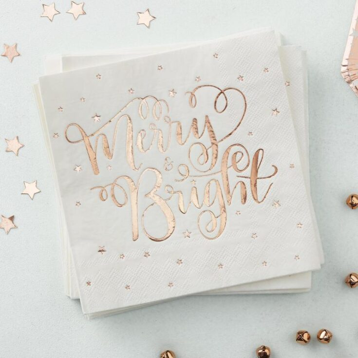 Christmas Rose Gold Napkins