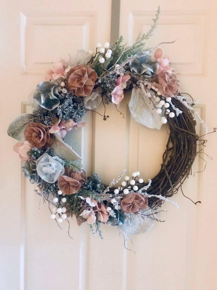 Silver & pink Grapevine Wreath