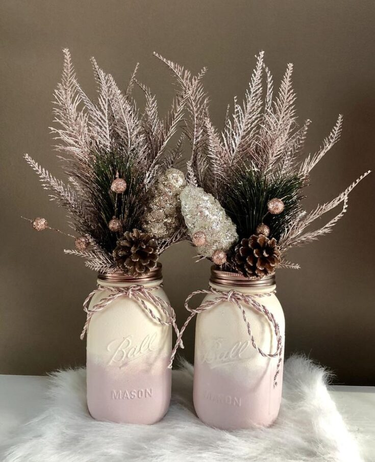 Blush White and Rose Gold Mason Jar Centerpieces
