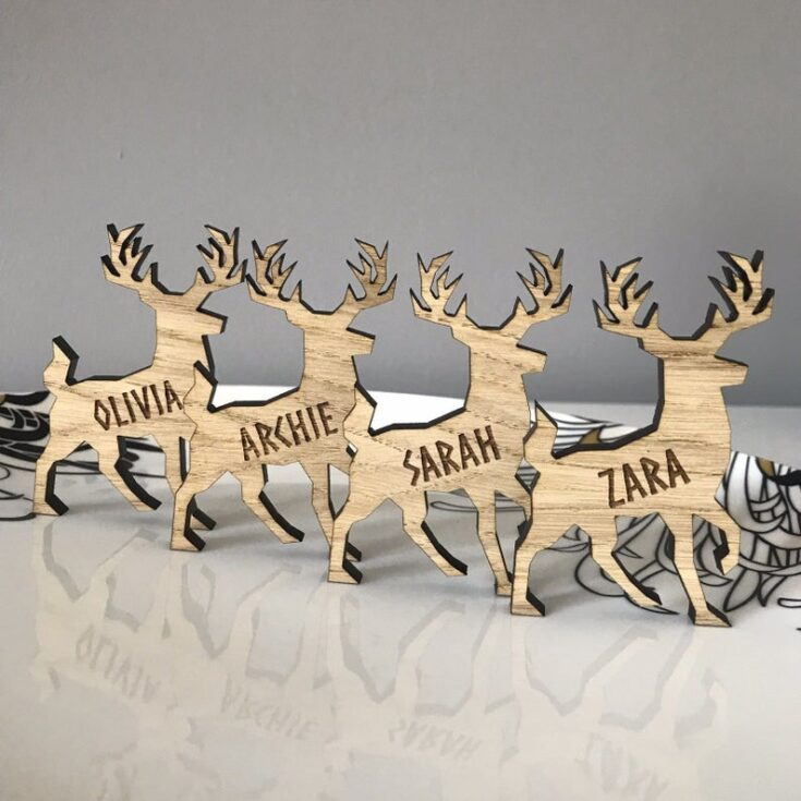 Personalized Reindeer Place Name Cards