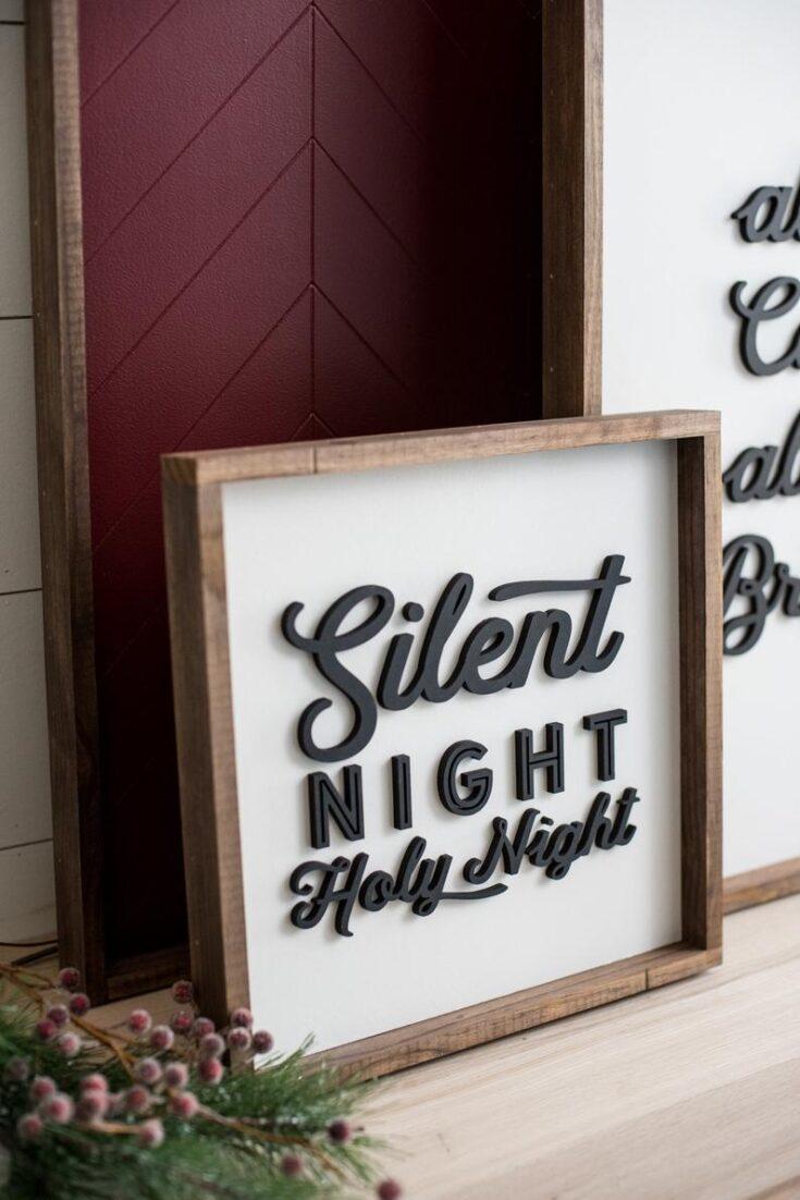 Silent Night Christmas Farmhouse Wooden Sign