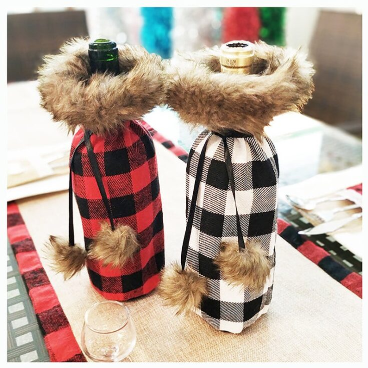 Plaid Wine Bottle Cover