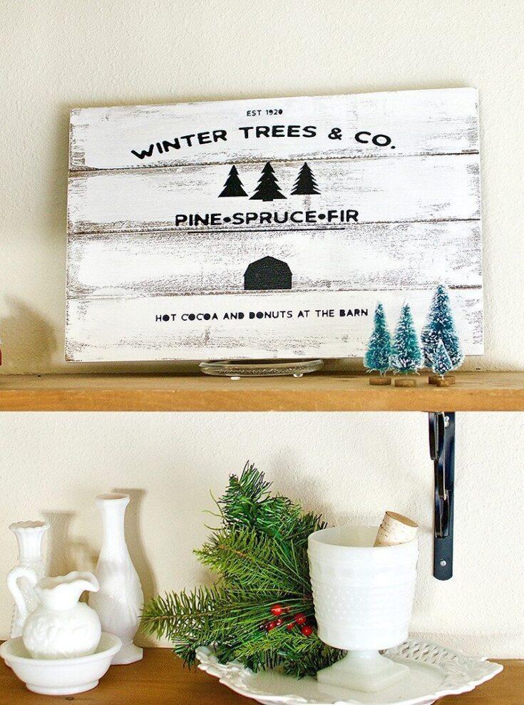 Rustic Winter Pine Sign