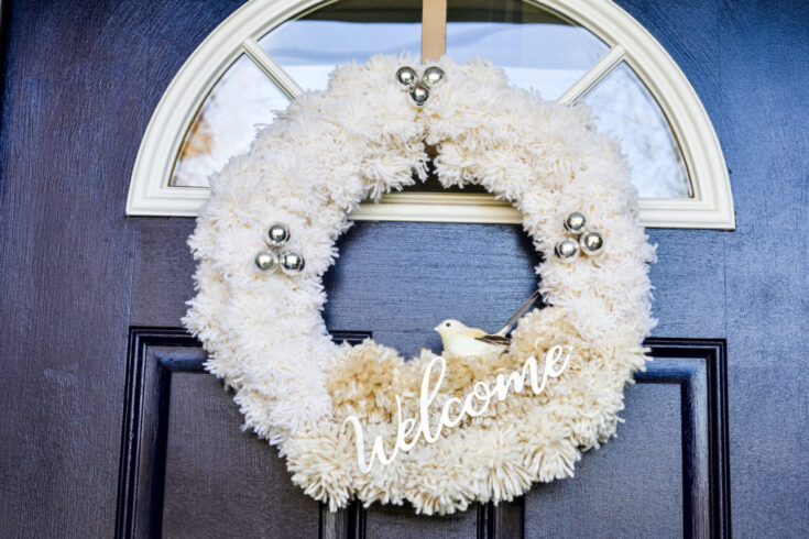 DIY Neutral Pom Pom Holiday Wreath