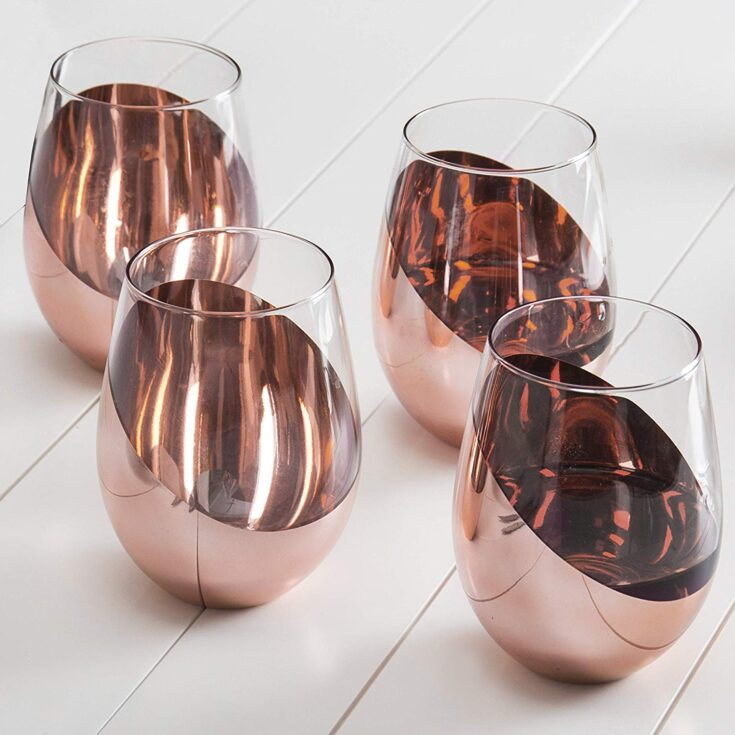 Modern Copper Stemless Wine Glasses