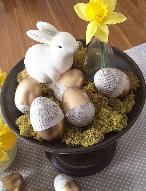 Gold Dipped & Newspaper Easter Eggs