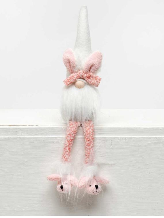 Pink and White Bunny Gnome