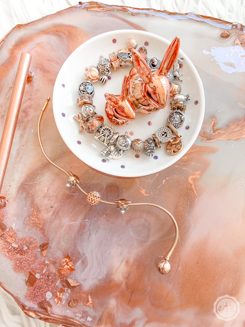 Blush Rose Gold Resin Tray Happily Ever After Etc