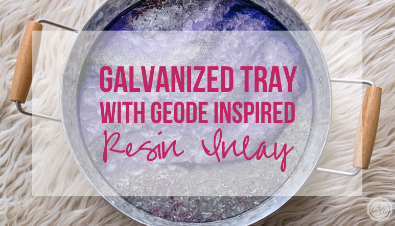 Galvanized Tray with Geode Inspired Resin Inlay